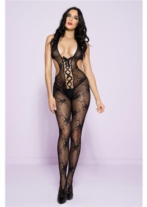 Music Legs Open back with front lace up crotchless bodystocking 1612-BLACK