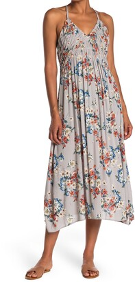 Angie Floral Ruched Bodice Cutout Back Midi Dress