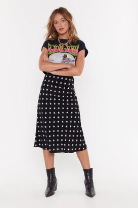 Nasty Gal Womens Star Print Bias Cut Midi Skirt - black - 4