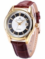 K&S KS Men's KS257 Analog Automatic Mechanical Date display Leather Band Wrist Watch