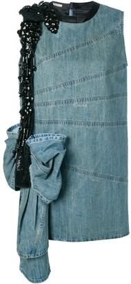Miu Miu oversized bow embroidered denim dress