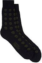 Alexander McQueen Men's Skull Cotton-Blend Mid-Calf Socks