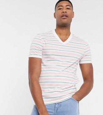 ASOS DESIGN Tall organic cotton stripe t-shirt with v neck