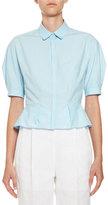 DELPOZO Crop-Sleeve Button-Front Blouse, Blue