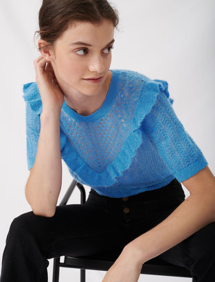 Maje Lace-style knitted sweater with ruffles