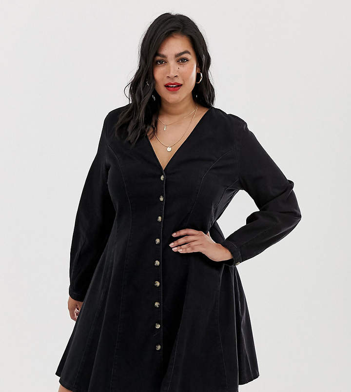 Asos DESIGN Curve denim long sleeve button through tea dress in washed black