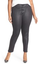 Melissa McCarthy Plus Size Women's High Rise Coated Pencil Jeans
