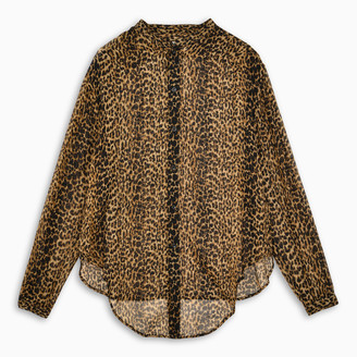 Saint Laurent Leopard-print semi-sheer blouse