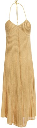 Sandro Esteban Asymmetric Metallic Ribbed-knit Midi Halterneck Dress