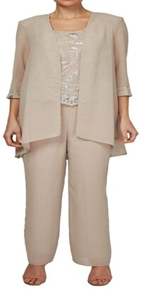 Le Bos Women's Sequin embroiodered 3 pc Pant Set