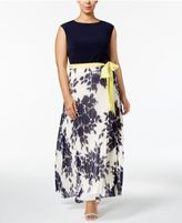 Jessica Howard Plus Size Belted Pleated Maxi Dress