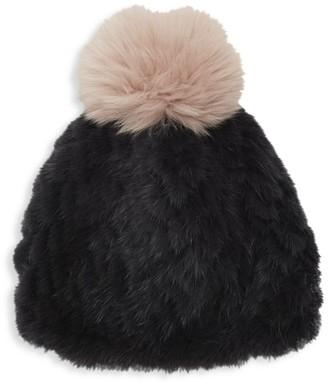 Jocelyn Savage Love Mink & Fox Fur Pom-Pom Beanie