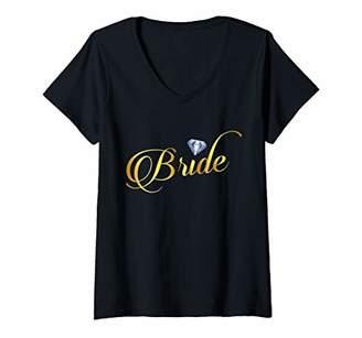 Womens Bride Diamond Wedding Bachelorette Party V-Neck T-Shirt