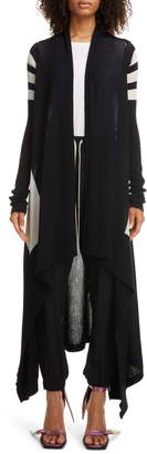 Rick Owens Stripe Long Wool Cardigan