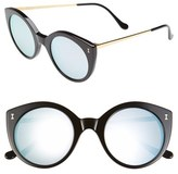 Illesteva Women's 'Palm Beach' 50Mm Round Sunglasses - Black/ Silver Mirrored Lenses