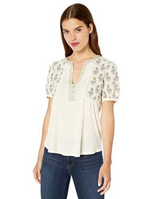 Lucky Brand Women's Mix Media Embroidered TOP