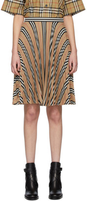 Burberry Beige Pleated Stripe Skirt