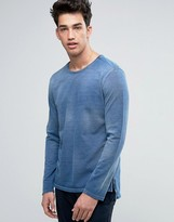 Benetton Sweatshirt With Open Drop Hem in Washed Indigo