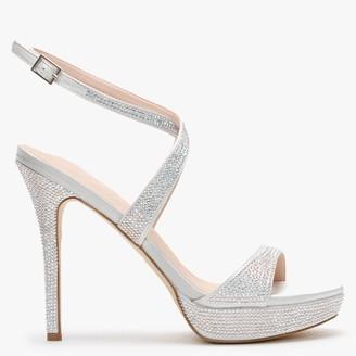 Daniel Anletti Silver Satin Embellished Platform Sandals