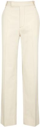 Lorod Barrack cream straight-leg twill trousers