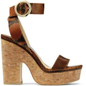Jimmy Choo AIMEE 125 Cuoio Snake Print Leather Sandal Wedges