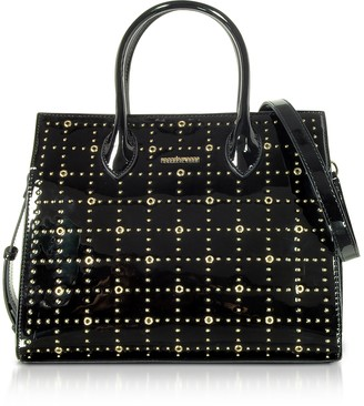 Roccobarocco Gazpacho Black Eco-Patent Leather Top Handle Bag w/Studs