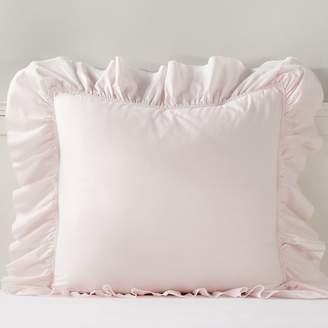 Pottery Barn Teen Washed Cotton Ruffle Organic Sham, Euro, Powdered Blush