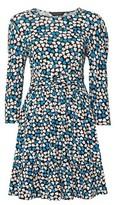 Dorothy Perkins Womens Blue Heart Print Ruched Waist Dress, Blue
