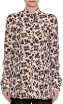 Valentino Pop-Flower Printed Silk Shirt