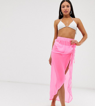 Asos Tall DESIGN Tall neon pink beach sarong with ruching