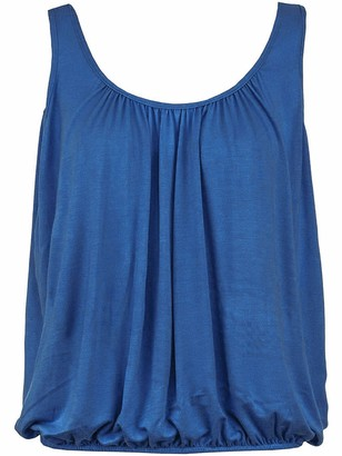 Love My Fashions Ladies Plain Round Scoop Neckline Loose Fit Elasticated Waist Stretch Slim Straps Flared Swing Camisole Sleeveless T-Shirt Vest Top Denim Blue