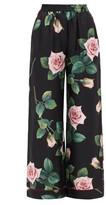 Dolce & Gabbana Rose-print Silk Wide-leg Trousers - Womens - Black Multi