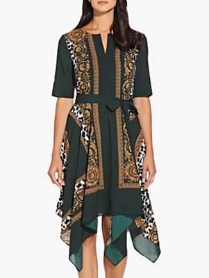 Adrianna Papell Medallion Scarf Dress, Green