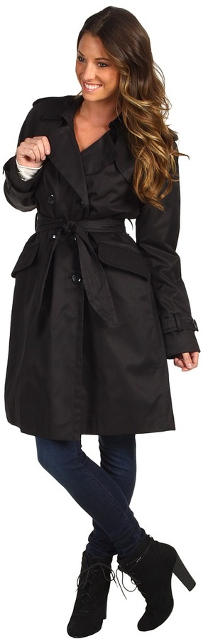 Ivanka Trump Double Breasted Belted Trench C1051 (Black) - Apparel
