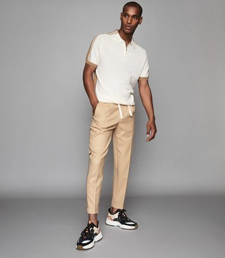 Reiss Salmon - Casual Trousers With Side Stripe in Tan
