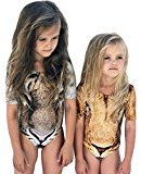 Fheaven Baby Kids Girls Summer Leopard Romper Round Neck Short Sleeve Jumpsuit Outfits Swimwear Beachwear (3T)