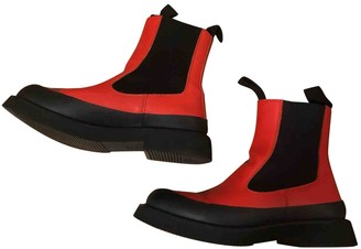 Celine Country Boots Red Leather Ankle boots