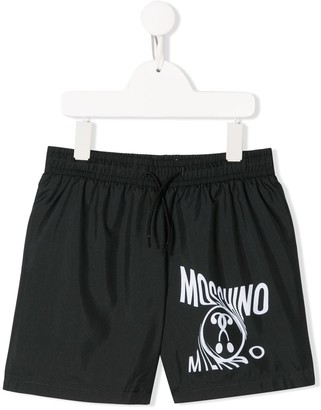 MOSCHINO BAMBINO Logo-Print Swim Shorts