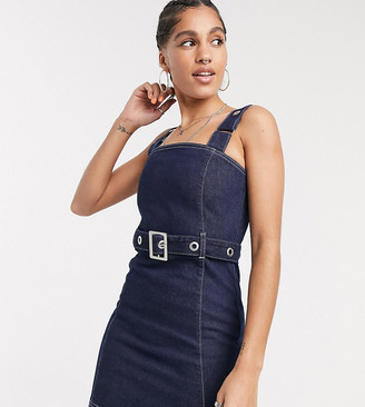 Collusion zip through denim dress with belt detail