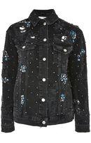 Topshop MOTO Diamante Embellished Oversized Denim Jacket