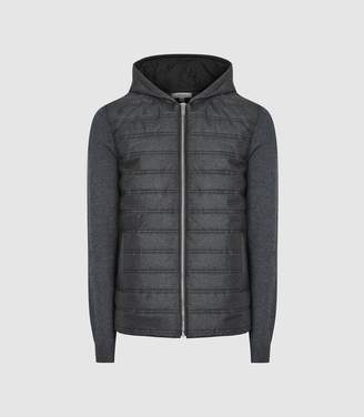 Reiss Gamble - Quilted Zip Through Hoodie in Charcoal