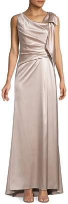 Eliza J Bow Shoulder Satin Gown