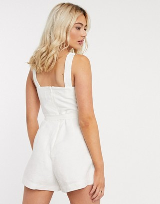 And other stories & linen sleeveless belted playsuit in cream