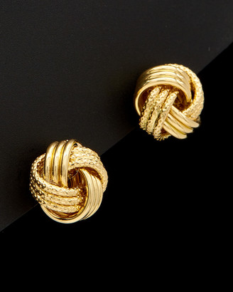 Italian Gold 18K Polished Textured Love Knot Earrings