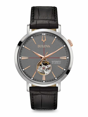 Bulova Mens Analogue Automatic Watch with Leather Strap 98A187