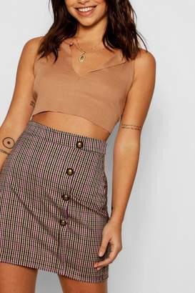 boohoo Check Button Detail Skirt