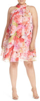 Eliza J Floral Chiffon Double Layer Trapeze Dress (Plus Size)