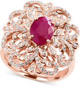 Effy Amore by Certified Ruby (1-3/8 ct. t.w.) and Diamond (3/8 ct. t.w.) Statement Ring in 14k Rose Gold, Created for Macy's