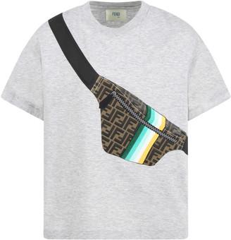 Fendi Gray T-shirt For Boy With Logo