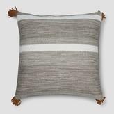 "Threshold Woven Tasseled 18"" Throw Pillow - Grey Stripe"